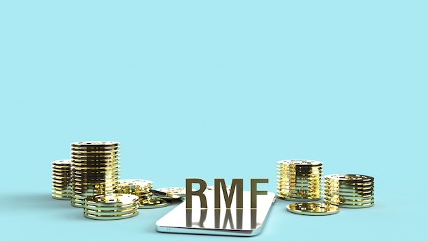 Rmf on mobile and gold coons, 3d rendering.