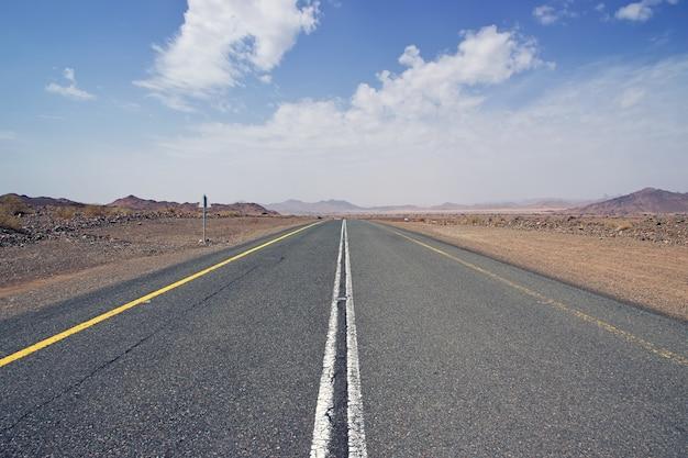The road in al shaq great canyon, saudi arabia