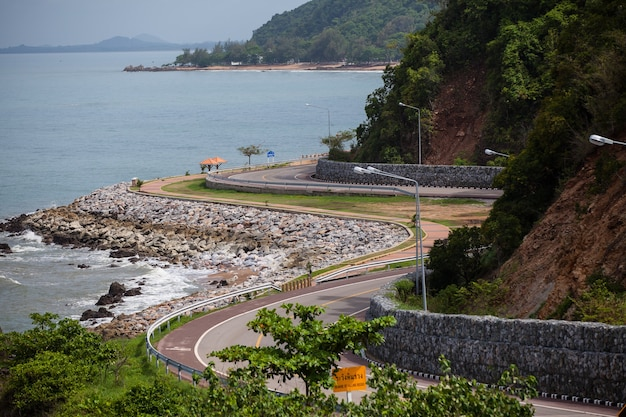 The road along beautiful beaches in thailand.