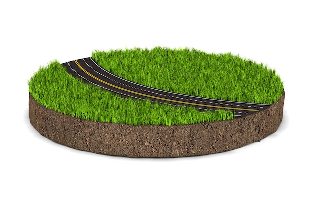 白い背景の上の緑の草と道路と丸い土の地面。分離された3dイラスト