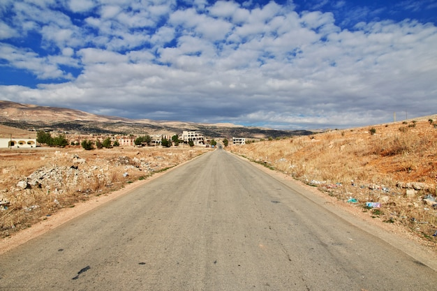 Road in bekaa valley of lebanon