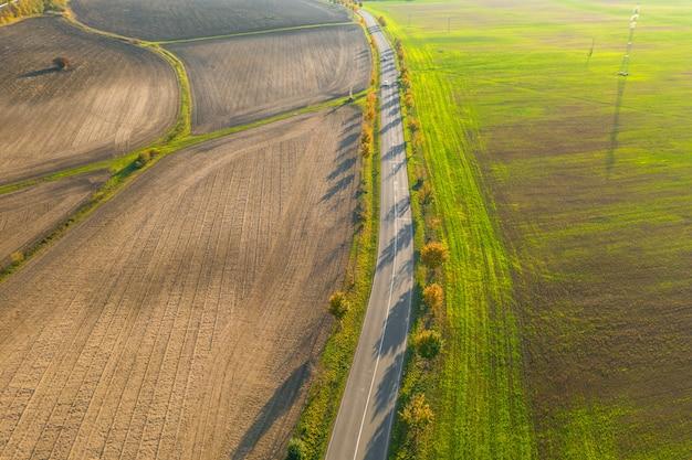 Дорога между зеленым полем и обрабатываемой землей с желтыми деревьями на заходе солнца в осени. вид с воздуха на скоростной дороге или аллее деревьев. концепция сельского хозяйства.