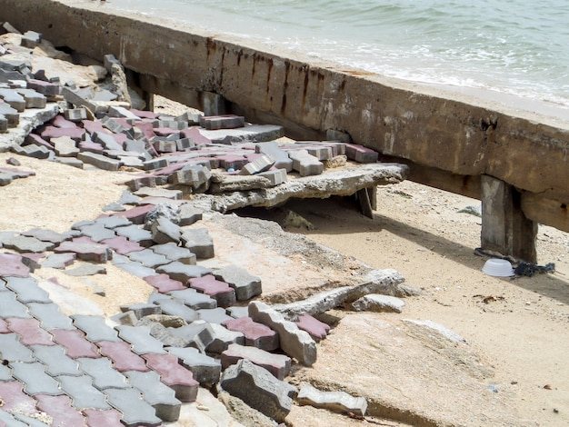 Road boardwalk damaged by storm surge