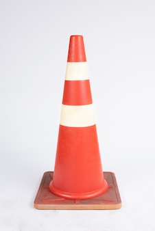 Road bollard traffic cone on white
