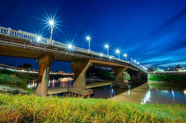The road on the bridge (eka thot sa root bridge) in phitsanulok, thailand.