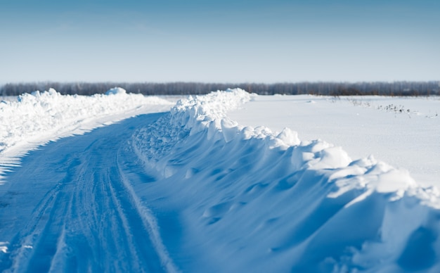Road brought by snow. a winter landscape