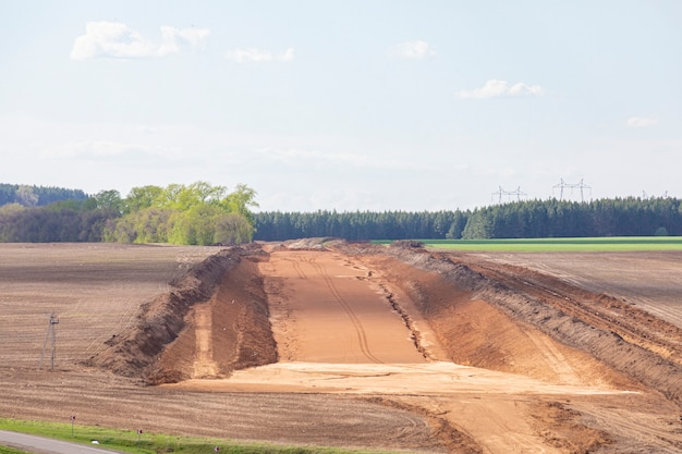 Road building construction site
