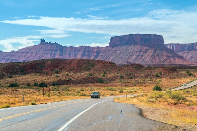 The road to the capitol reef national park, utah, usa.