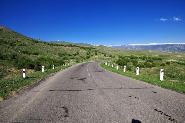 The road in caucasus mountains in armenia