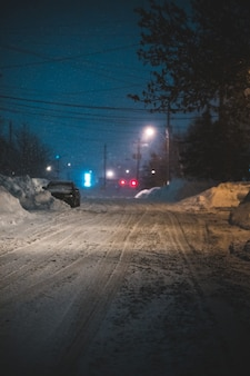 Дорога в снегу зимой