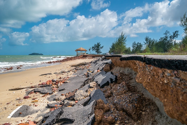Ущерб от дороги, вызванный разрушением морских волн