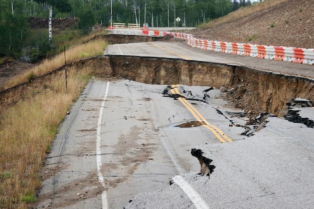 Road damage landslide in wyoming forest