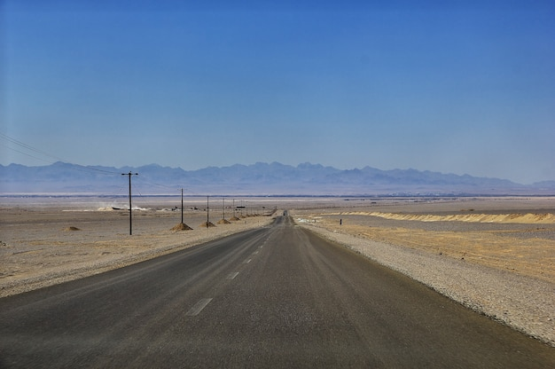 Road on desert of iran