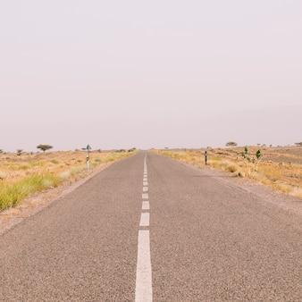 Road in desert landscape in morocco