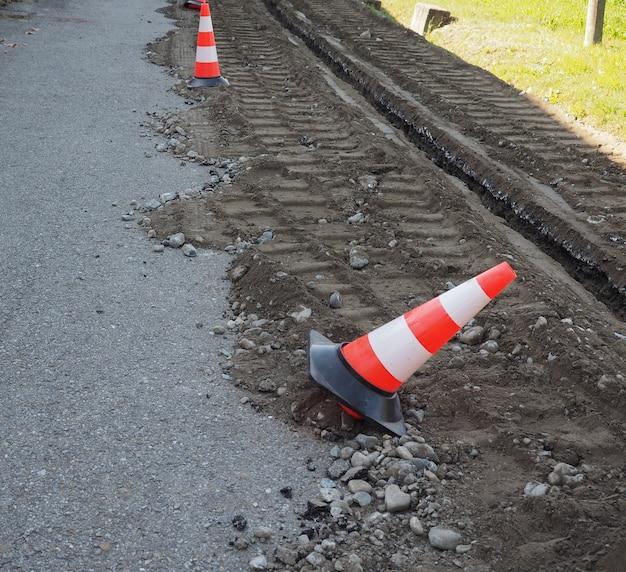 광섬유를 위한 도로 굴착 작업