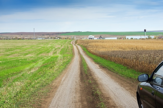 Road to the farm, among the agricultural fields