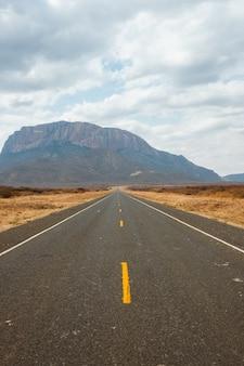 ケニアで捕獲された砂漠を通る道路