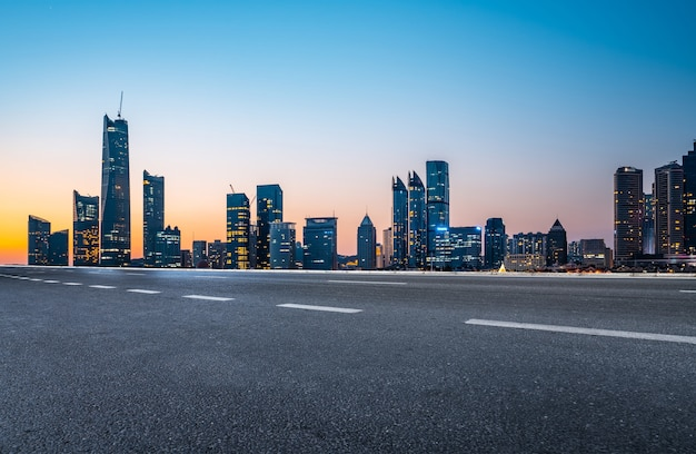 Road ground and modern architectural landscape skyline of chinese city