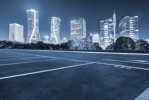 Road ground and urban modern architectural landscape skyline