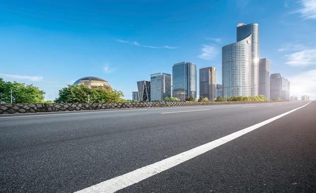 Road ground and urban modern architectural landscape