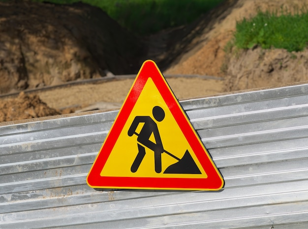 Road is under construction sign background