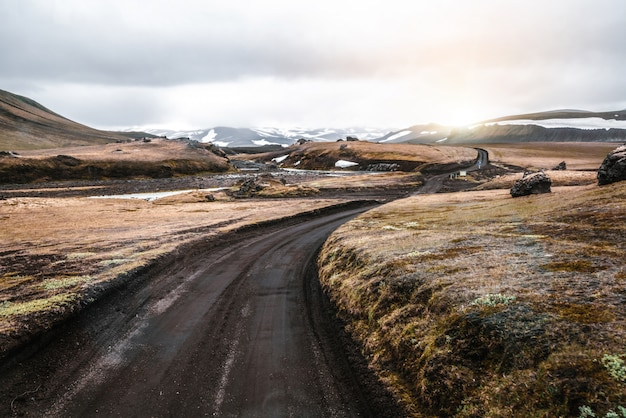 Road to landmanalaugar on highlands of iceland.