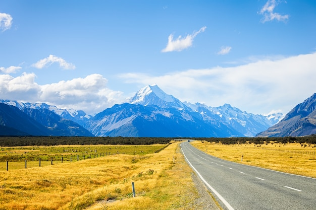 Road leading to aoraki mount cook national park at south island new zealand