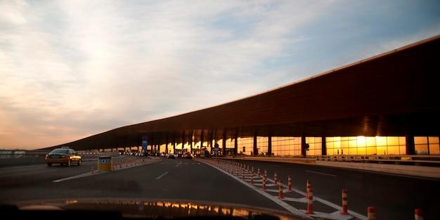 Road leading towards the beijing capital international airport, beijing, china