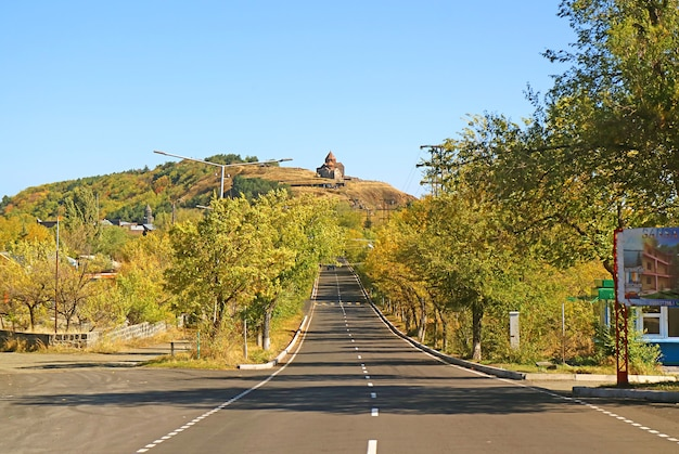 A road leading up to sevanavank monastic complex, one of the most visited tourism sights in armenia