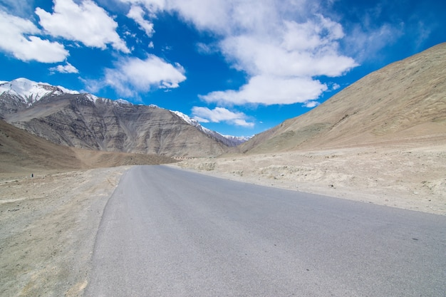 On the road in leh ladakh landscape.khardung la pass