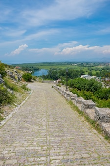 The road made of cobblestones to the ancient fortress of rozafa