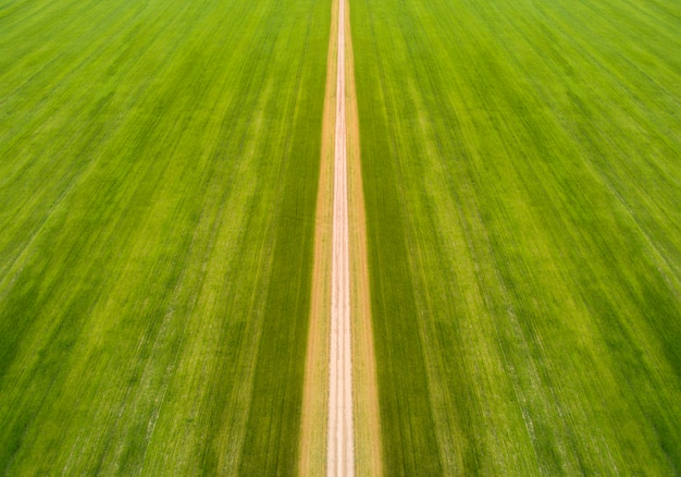 The road in the middle of the field taken from above by a drone