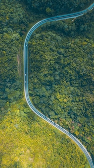 Road in the middle of the mountains drone shoot