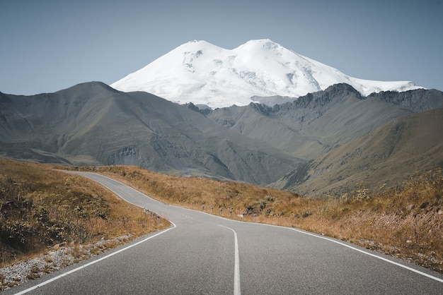 Road to mountain elbrus. caucasus.