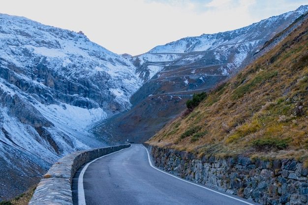 Road to the mountain at passo dello stelvio italy.