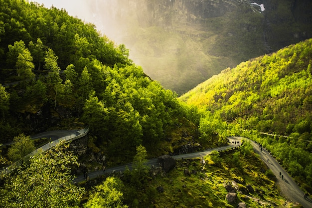 Road on mountain. travel around europe. summer nature in norway. beautiful spring landscape in scandinavia. tourism in europe. nature background. beautiful landscape with mountain view