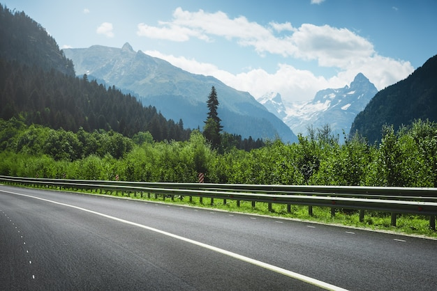 Road to mountains. summer landscape.