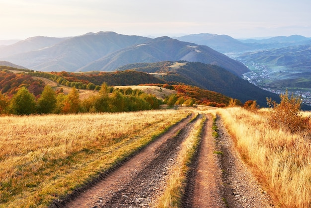 Road in the mountains. wonderful autumn mountain landscape.