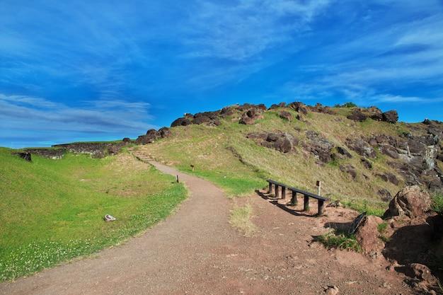ラノカウ火山、イースター島、チリの道