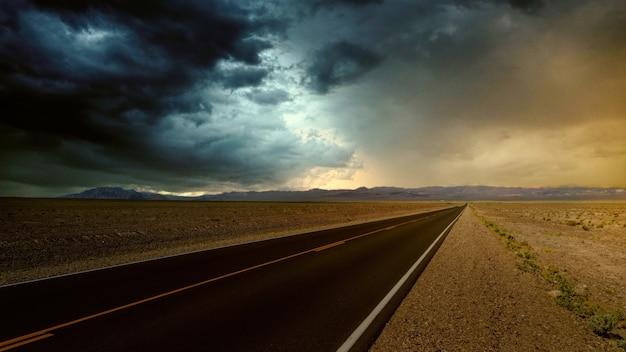 Road pavement on the desert