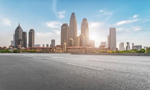Road plaza and tianjin urban landscape skyline