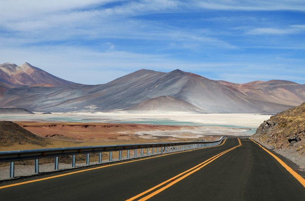 The road to salar de talar, beautiful highland salt flats and salt lakes in northern chile