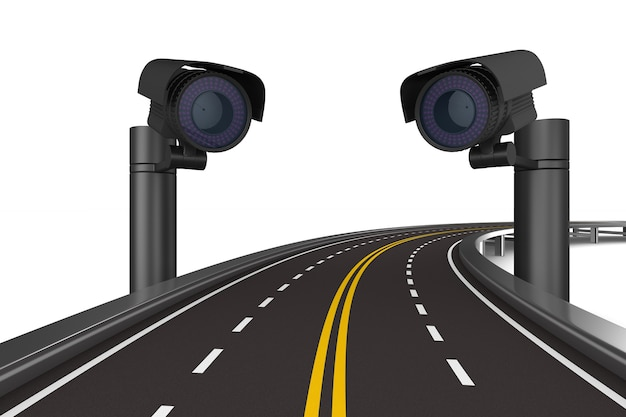 Road security cameras. isolated 3d rendering