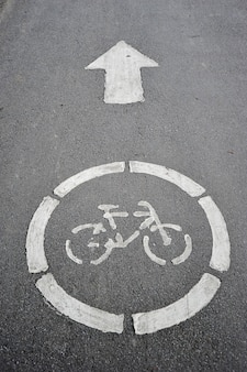 Road sign bicycle path on the pavement