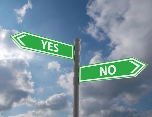 Концепция дорожного знака со словами да и нет