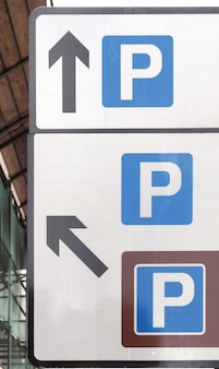 A road sign for a parking area