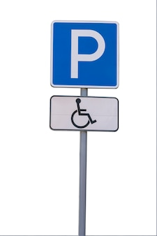 Road sign parking for the disabled. isolate on a white table