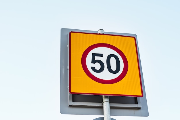 Road sign speed limit to 50, traffic sign