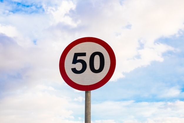 Road sign speed limit to 50 traffic sign