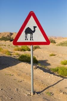ラクダの図と砂漠の道路の道路標識
